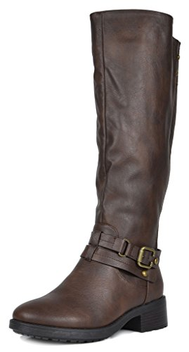 Womens Brown Knee High Boots (DREAM PAIRS Women's Uncle Brown Knee High Motorcycle Riding Winter Boots Size 8 M US)