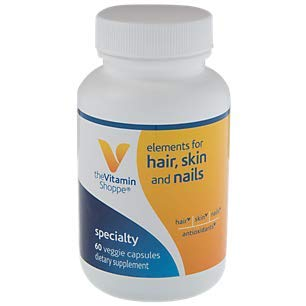 The Vitamin Shoppe Elements for Hair, Skin Nails, Antioxidant That Supports Growth of Hair, Skin Nail Health with Collagen Type II Powder Hyaluronic Acid (60 Veggie Capsules)