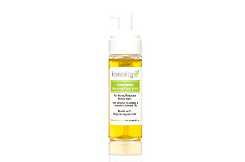 Kosmatology Lemongrass Organic Foaming Facial Wash for Acne Prone Skin, 6 fl oz