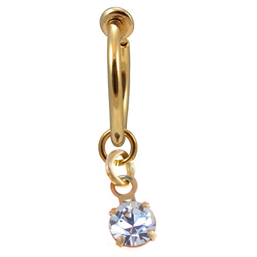 Gold Color Clear Drop Fake Belly Button Ring-Clip On Hoop Earring Non Pierce-1/2 inch-12mm (Magnetic Belly Ring)