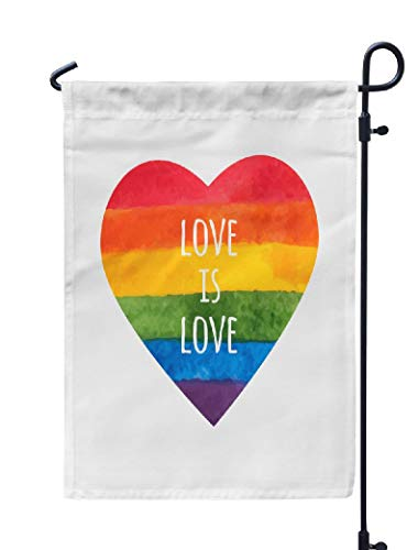 Soopat Love Heart Seasonal Flag, Rainbow Heart Love Pride Day Weatherproof Double Stitched Outdoor Decorative Flags for Garden Yard 12''L x 18''W Welcome Garden Flag