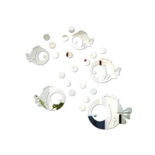 VOSAREA Adhesivo de Pared de acrilico 3D Peces y Burbujas Pegatinas en Espejo Calcomanias de Pared ecologicas para la Sala de Estar del Dormitorio Decoracion del bano (Plata)