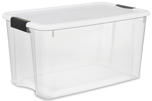 Sterilite 19889804 70 Quart/66 Liter Ultra Latch Box, Clear with a White Lid and Black Latches, 4-Pack (Where To Buy A Closet)