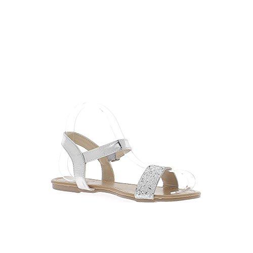 Pies descalzos apariencia gris plata cuero y lentejuelas