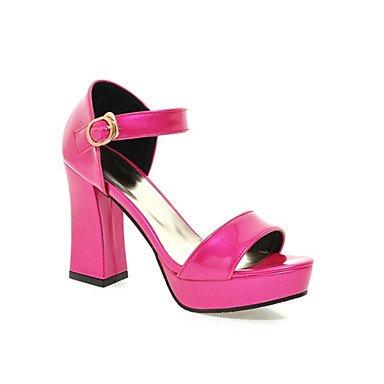 LFNLYX Tacones de mujer de Primavera / otoño / invierno / Plataforma comodidad material personalizado / Polipiel Boda / vestimenta casual / Chunky talón hebilla Pink