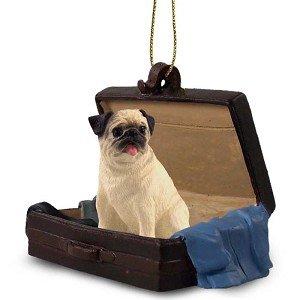 Brown Pug Traveling Companion Dog Ornament
