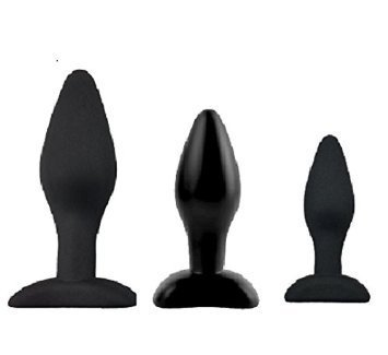 brand new Silicone Butt Plugs Trainer Kit with black pouch, 3 pieces, US seller