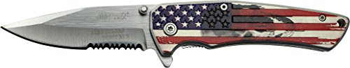 MTech USA MT-A1027S Spring Assist Folding Knife, Silver Half-Serrated Blade, American Flag Handle, 4.5-Inch Closed (Silver Assisted Serrated Blade)