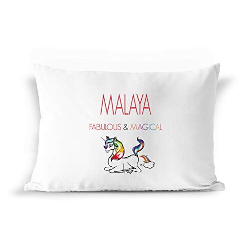 BarborasBoutique Malaya Unicorn Pillow Case Gift for Girls - PIL5-BB Funny Pillowcase Cover for Women Kids Christmas Birthday Name Farting Fart Personalized Present Idea - Standard Size