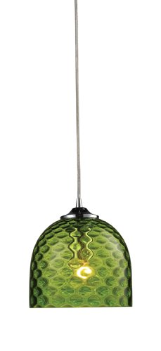 1-Light Green Pendant In Polished Chrome ()