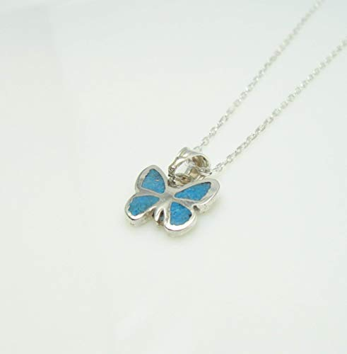 Butterfly Turquoise Gemstone Mosaic Sterling Silver Necklace 16.1'' to 17.7 inches, Adjustable Chain, Semi Precious Stone