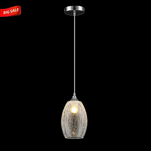 Lutriva Home Modern One Light Indoor Small Pendant Lighting, Clear Crackle Glass Shade Pendant Lighting Fixture with Ajustable Cord Crackle 1 Light Pendant