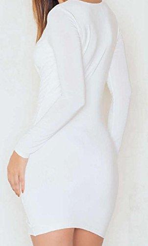 Les Femmes Coolred Plissée À Manches Longues Col V Profond Découpé Robe Hanche Paquet Blanc