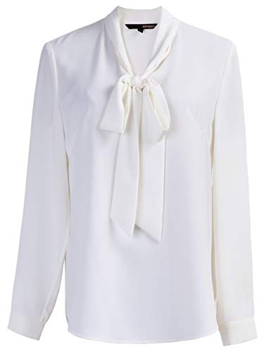 ROEYSHOUSE Women?s Bow Tie Neck Blouse Long Sleeve Chiffon Pullover Work Shirts Office Casual Tops, White-pullover, XX-Large