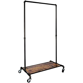 REAL HOME Innovations 028 28004 Real Home Modern Industrial Style Garment  Rack With Wood Shelf,Satin Pewter Finish