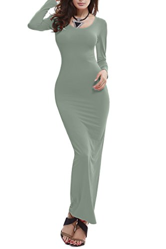 YMING Womens Casual Long Sleeve Tank Top Long Maxi Dress Green L Jersey Long Sleeve Bib