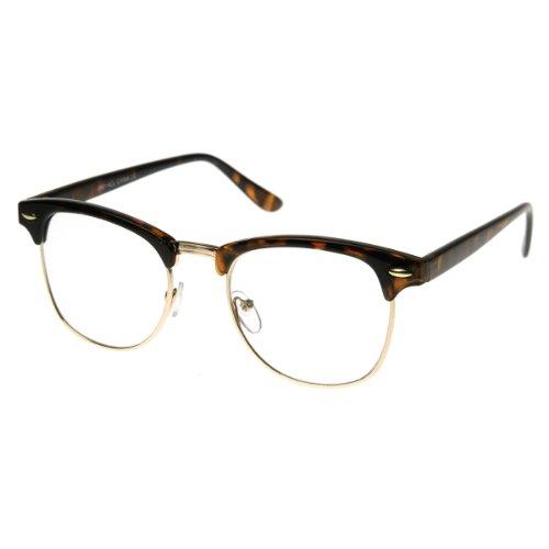 zeroUV - Vintage Inspired Classic Horn Rimmed Nerd Horn Rimmed UV400 Clear Lens Glasses (Clear | - Mens Tortoise Glasses Shell
