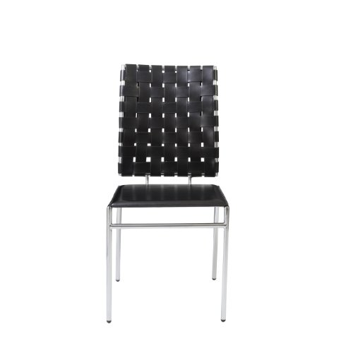 Eurø Style Carina Woven Back Leather Side Chair with Chromed Base, Set of 4, Black