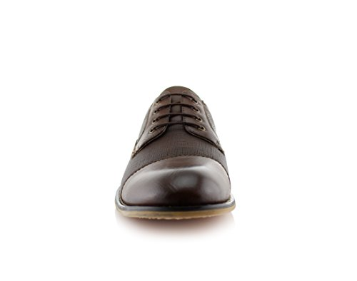 Ferro Aldo Mens Oxfords Classic Modern Captoe Dress Shoes Brown 11