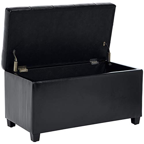 First Hill Matteo Faux-Leather Rectangular Storage Ottoman, Studio Black