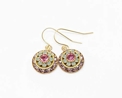 (Vintage Swarovski Crystal Flower Earrings)
