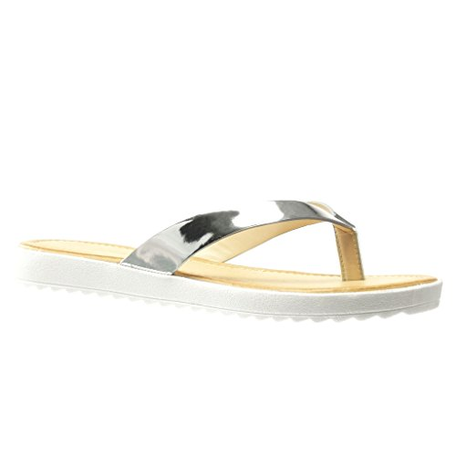 Angkorly Women's Fashion Shoes Sandals Flip-Flops - t-Bar - Shiny Flat Heel 2 cm Silver