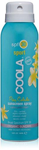 COOLA Organic Suncare, Pina Colada Sport Sunscreen Spray, SPF 30, 3.4 fl. Ounce