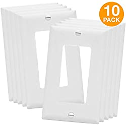 "ENERLITES 8831-W Decorator Light Switch or Receptacle Outlet Wall Plate, Size 1-Gang 4.50"" x 2.76"", Polycarbonate Thermoplastic, 8831-W-10PCS, White (10 Pack)"