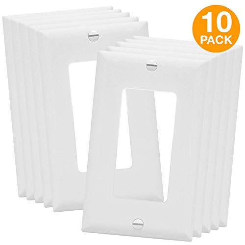 Decorator Switch Wall Plate by Enerlites 8831-W | Home Outlet Cover, 1-Gang Standard Size, for Paddle Rockers, GFCI Devices, Timers, Dimmers, Sensors - Unbreakable Polycarbonate, White, 10-Pack
