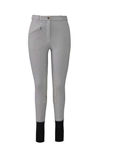 (TuffRider Ladies Basic LowRise Pull-On Knee Patch Breeches | Horse Riding Equestrian Pants | Color - LIGHT GREY | Size - 24)