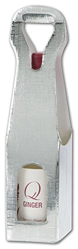 Food & Gourmet Boxes - Silver Embossed 1 Wine Bottle Carriers, 3 1/2x3 1/2x13'' (100 Carriers) - BOWS-CARRIER1-7 by Miller Supply Inc