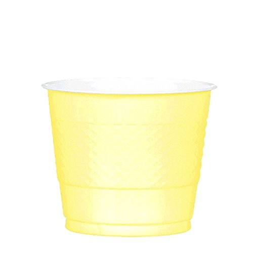 Amscan Reusable Party Plastic Cups Tableware, Light Yellow, 9oz., Pack of 20
