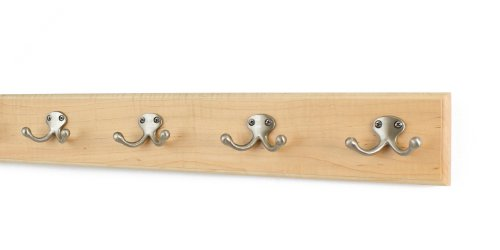 Maple Coat Rack with Satin Nickel Double Style Hooks (Natural, 20