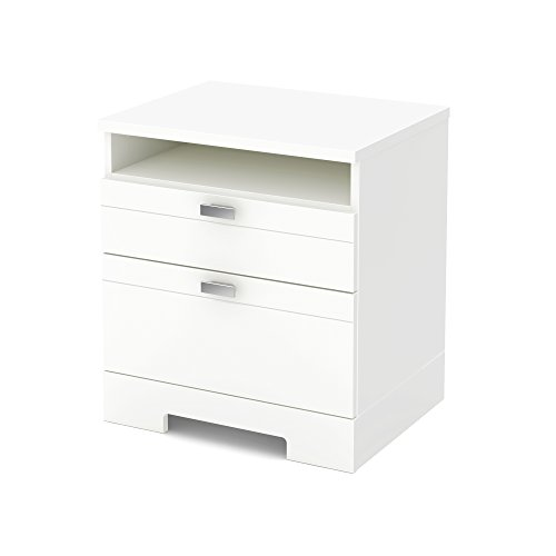 South Shore Reevo 2-Drawer Nightstand, Pure White with Matte Nickel Handles