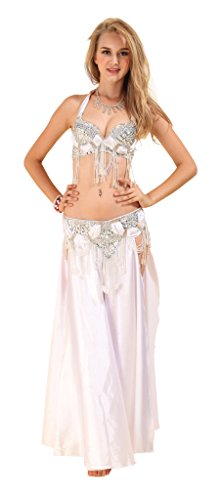 [GUILTY BEAUTY Belly Dance Costume Bra Belt Skirt 3pcs Performance Outfit] (Pericles Costume)