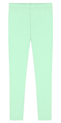 (Popular Big Girl's Cotton Ankle Length Leggings - Mint - 8 )
