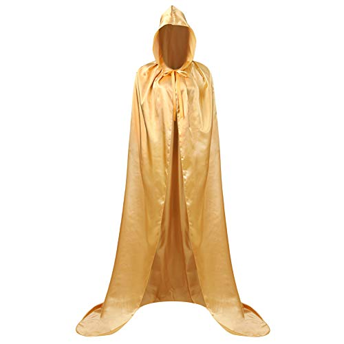 AOLAIYAOQU Unisex Tunic Vampire Hooded Cloak Wicca Robe Medieval Witchcraft Cape Cosplay Cloak Halloween Gold -