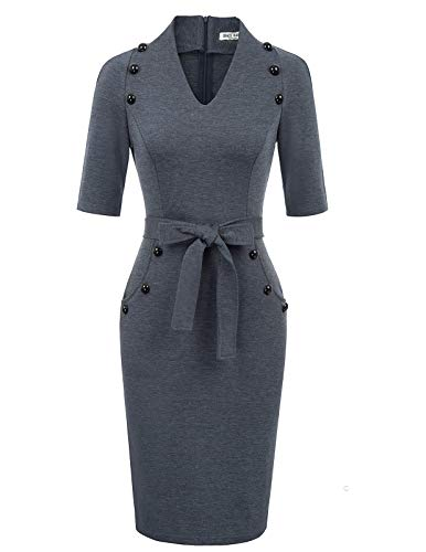 Sheath Suit - Women's Official V Neck Half Sleeve Chic Business Sheath Dress L Blue