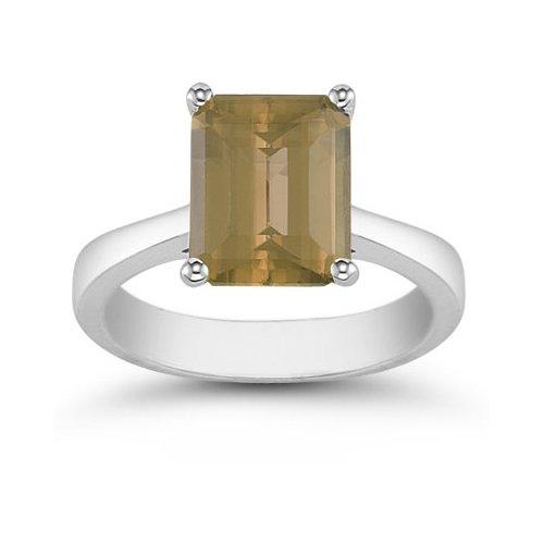 8mm x 6mm Emerald Cut Smoky Quartz Solitaire Ring, 14K White (Cut Smoky Quartz Solitaire Ring)