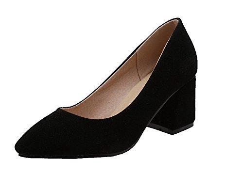 VogueZone009 Damen Nubukleder Mittler Spitz Zehe Rein Ziehen auf Pumps Schuhe Schwarz