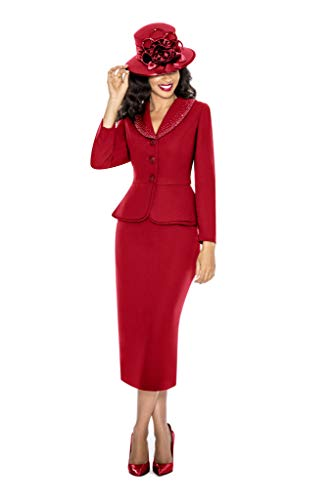 Giovanna Signature Womens Washable 2-Piece Peplum Embellished Skirt Suit