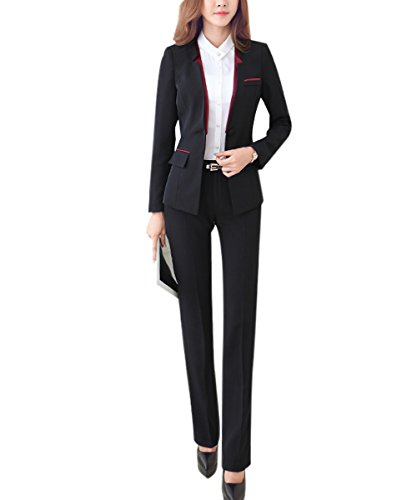 Women's 2 Piece Slim Fit Suits Set for Business Office Lady Blazer Jacket Pants