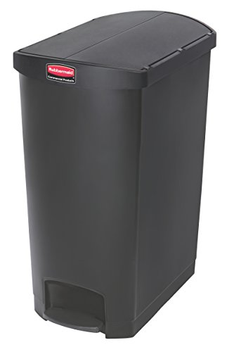 Rubbermaid Commercial Products Slim Jim Step-On Plastic Trash/Garbage Cans, 24 Gallon, Plastic End Step Step-On, Black