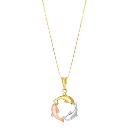 14k Tri-Color Gold Round Dolphin Design Pendant