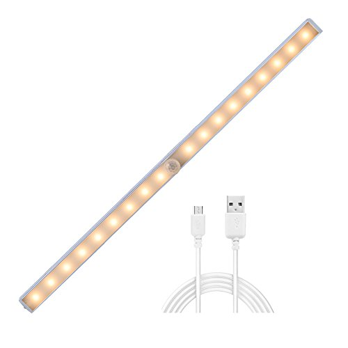 (Cshidworld Cabinet Lights, Rechargeable Motion Sensor 18 LED Lighting Wireless Night Light for Closet, Attics, Wardrobe, Cupboard, Stairway (Warm White))