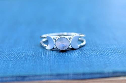 Sterling Silver Triple Goddess Rainbow Moonstone Ring, Silver Moon Ring, Moon Phase Ring, Crescent Moon Ring, Wicca ring, Wicca Jewelry, Lunar Phases, Statement Ring, Boho