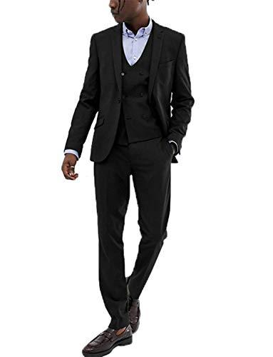 Lilis Mens 3 Piece Tuxedos Groomsmen Wedding Suit Complete Outfits(Jackets+Vest+Trousers) Black ()