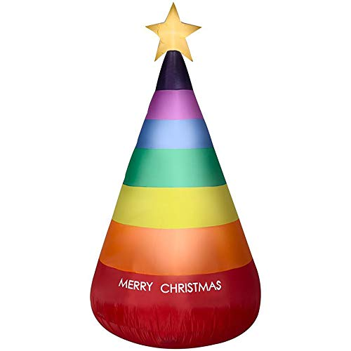 Gemmy 7FT Rainbow Lighted Inflatable Christmas Tree Indoor/Outdoor Holiday Decoration (Gemmy Christmas Trees)