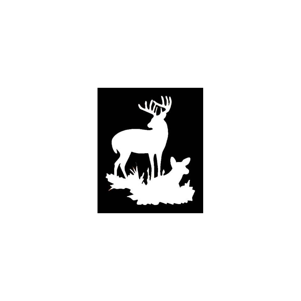 BUCK & DOE DEER SILHOUETTE Vinyl Sticker/Decal (Hunting,Deer)