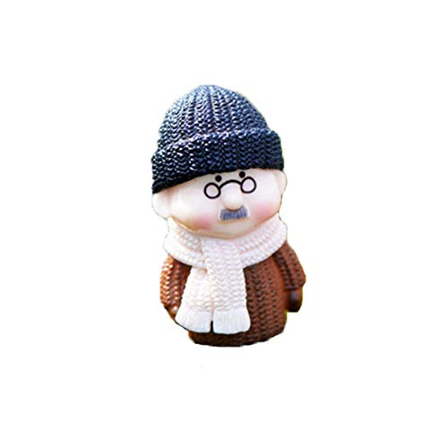 NszzJixo9 1PC Winter Dress Grandpa and Grandma Miniature DIY Ornament Decoration,Sculpture for Home Table Decoration and Wedding Party Gift for Bonsai Home Table Decoration (C)